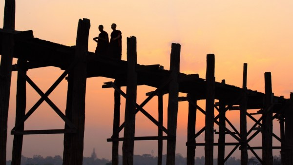Monks U-Bein Bridge Myanmar