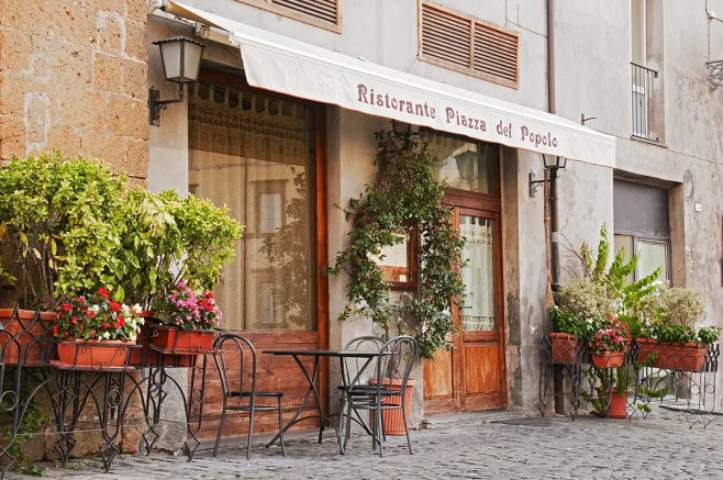 Closed restaurant, Orvieto, Umbria, Italy