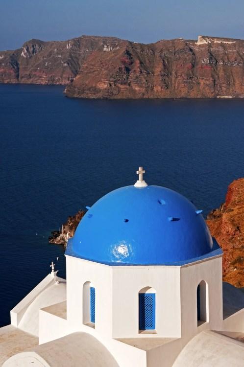 Blue-domed church in Oia, Santorini, Greece