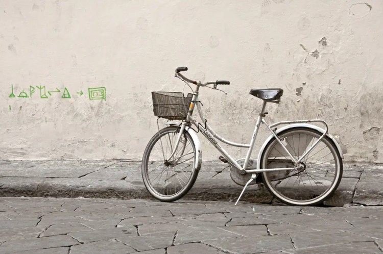 Bike on street in Florence, Italy