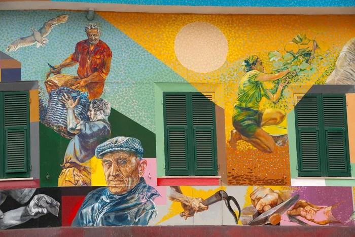 Colorful murals in Riomaggiore