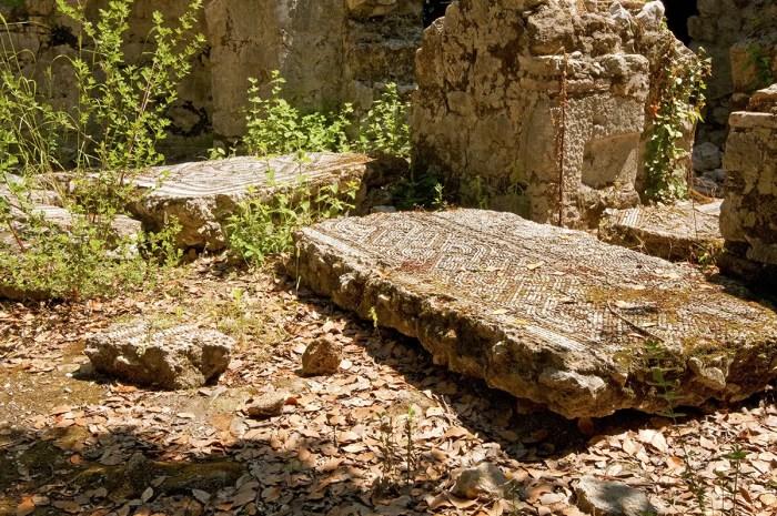 Mosaic on ground, ruins of Olympos, Turkey