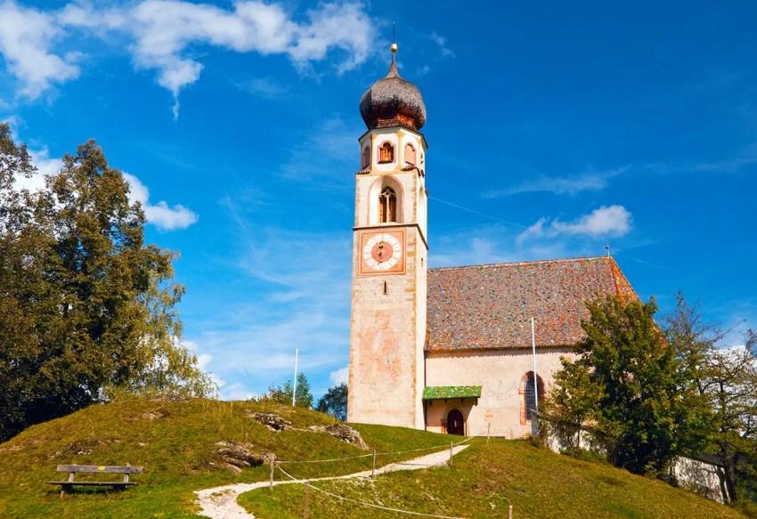 Onion-domed church in Alpe di Siusi region, Italy