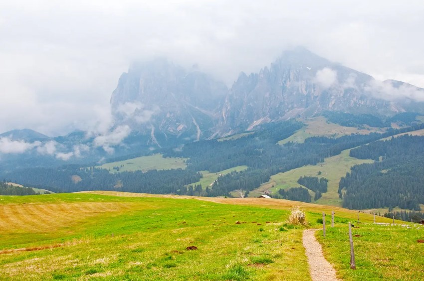 Hiking in the Saltria valley, near Castelrotto, Italy