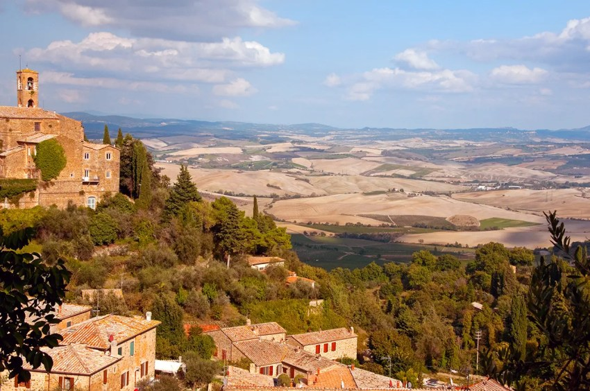 Part of the town of Montalcino and the fabulous Val d'Orcia
