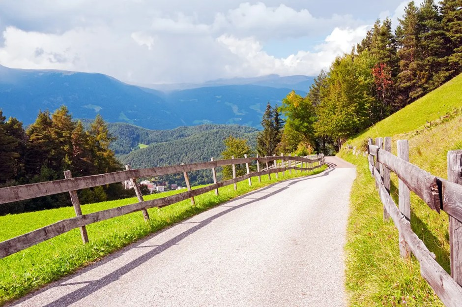 Walking along one of the trails near Castelrotto/Kastelruth, Italy