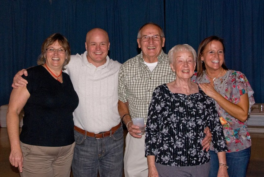 My sister, brother, dad, mom and me on my dad's 80th birthday, 2010