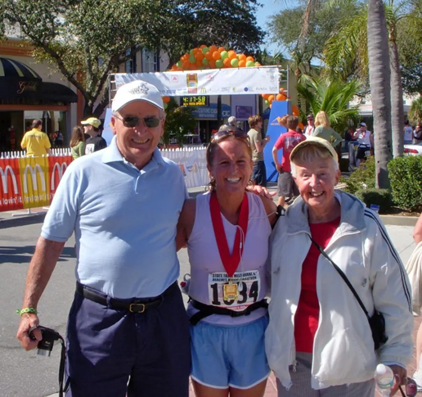 My folks and I in February 2009 after I completed the Melbourne, FL marathon