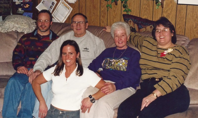 My siblings and I with the folks, Christmas 1998