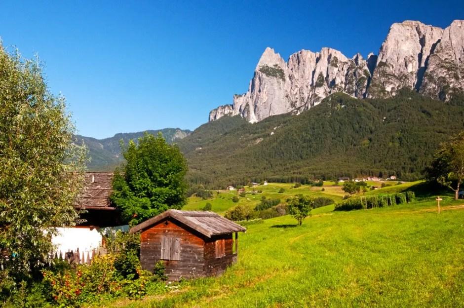 The Schlern/Sciliar and valley of the Alpe di Siusi
