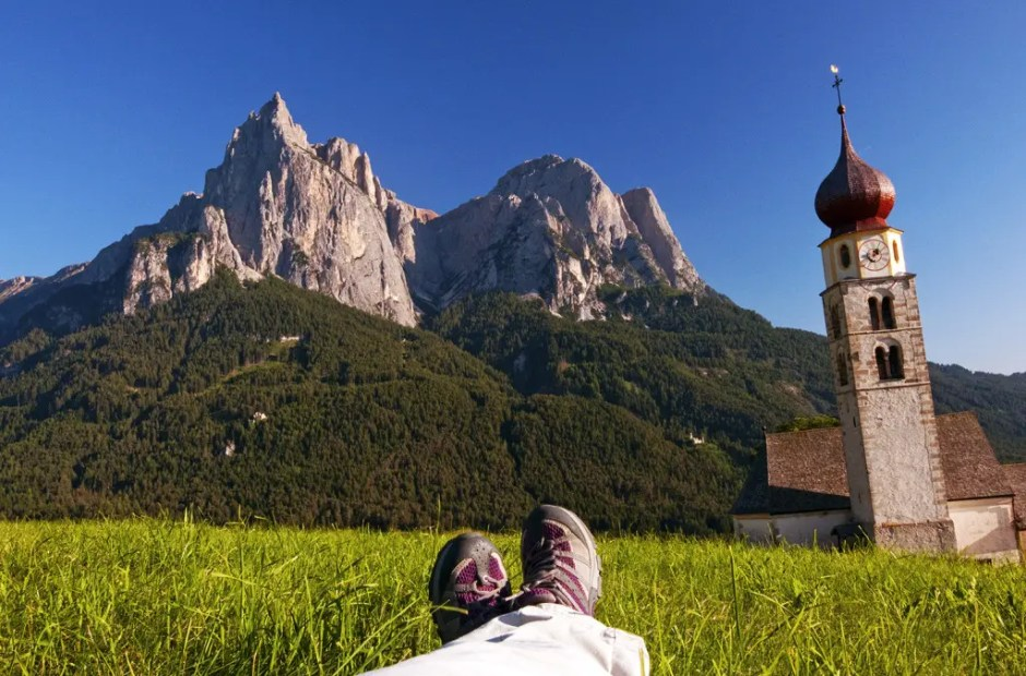 This is the life! Laying in the summer grass gazing up at the Schlern/Sciliar, late day