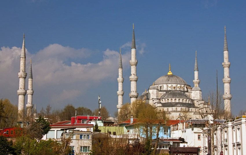 Blue Mosque from the terrace of the Erguvan Hotel, Istanbul, Turkey