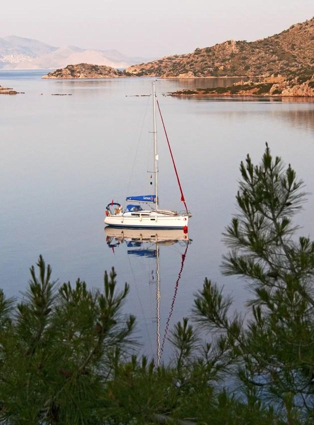 Sailboat moored in the cove of Bozburun, Turkey