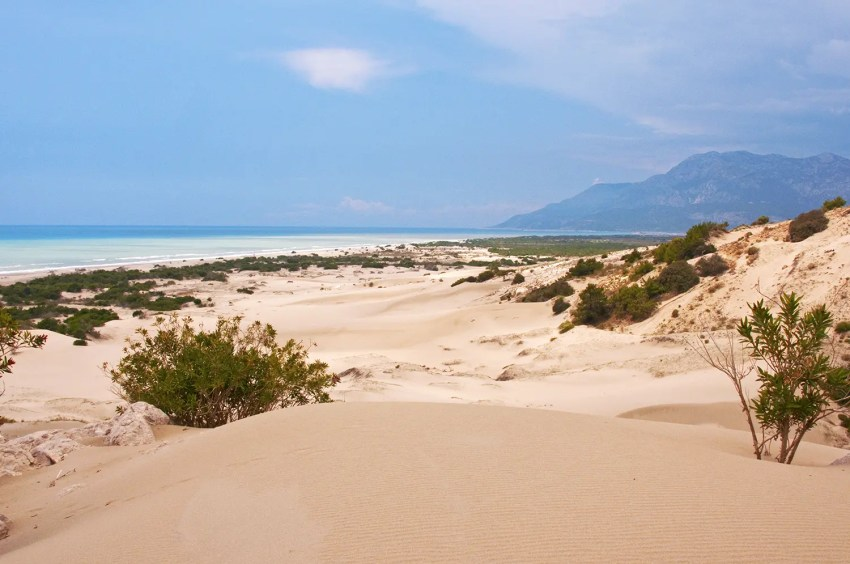 View across Patara sand dunes to Mediterranean Se and mountains, Patara, Turkey