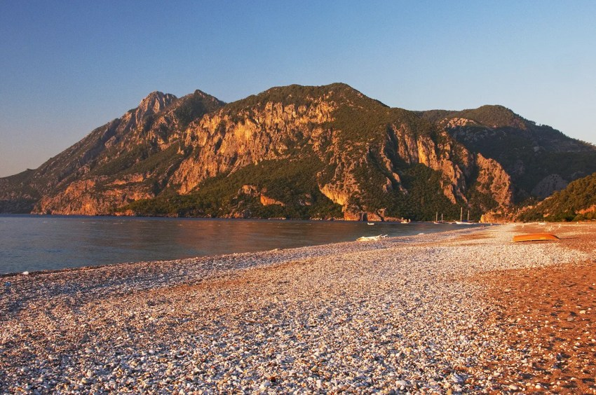 Beach and mountains at sunrise, ǂirali, Turkey