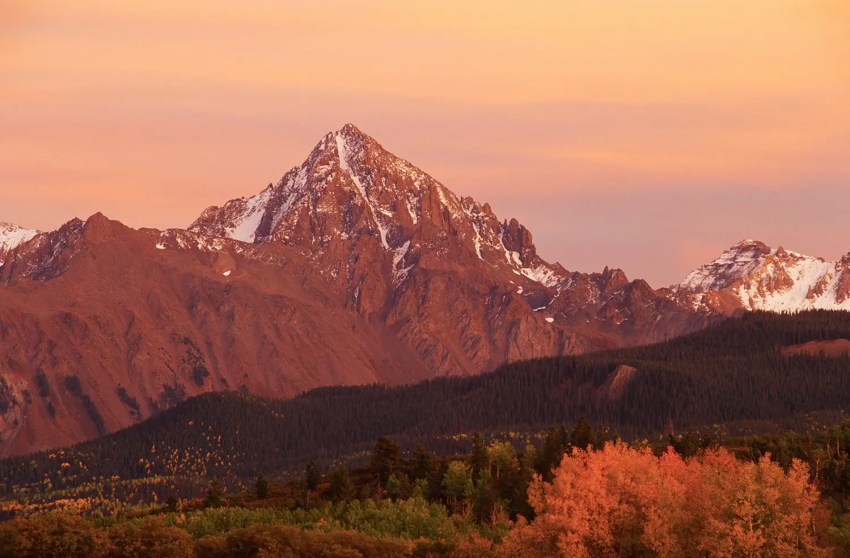 Sneffels Range in autumn at sunset from Dallas Divide, near Ridgeway, Colorado, USA