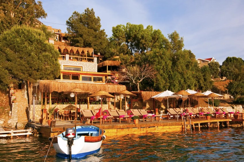 Karia Bel' Hotel from boat on Aegean Sea, Bozburun, Turkey