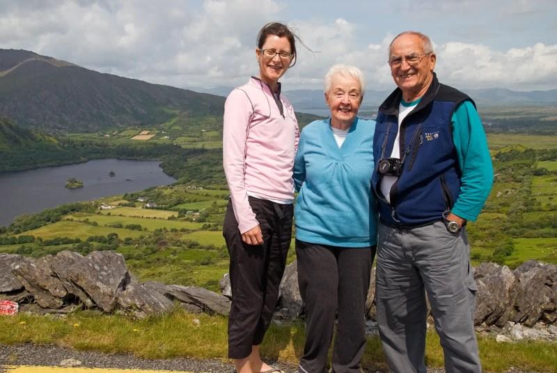 Aedín with my folks at Healy Pass, Beara Peninsula