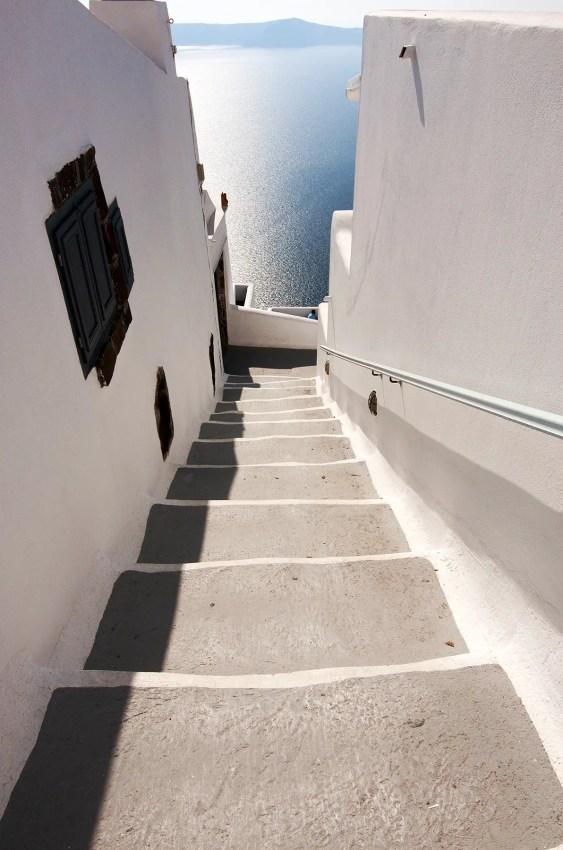 Stairwasy leading down the Caldera of Fira, Santorini, Greece