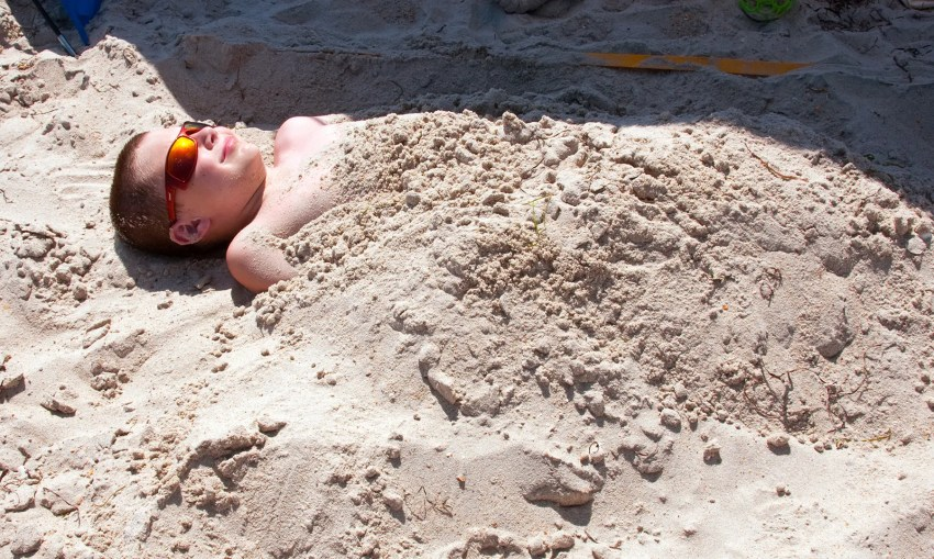 Bradley buried in the sand