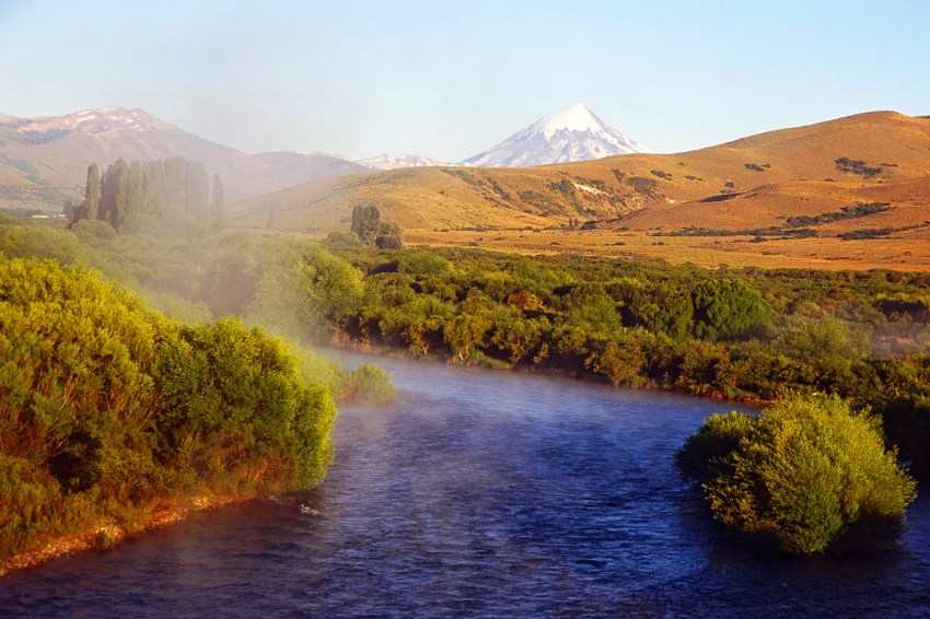 Volcan Lanin with early morning mist on stream - Lake District, Argentina on my 40th Birthday