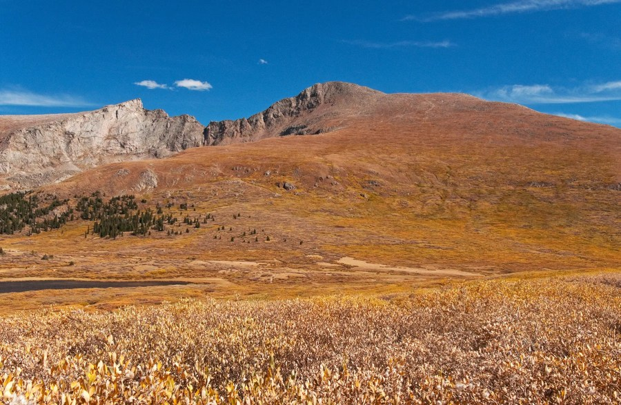 Looking up at Mt Bierstadt, on the right, and the Sawtooth Ridge, to the left