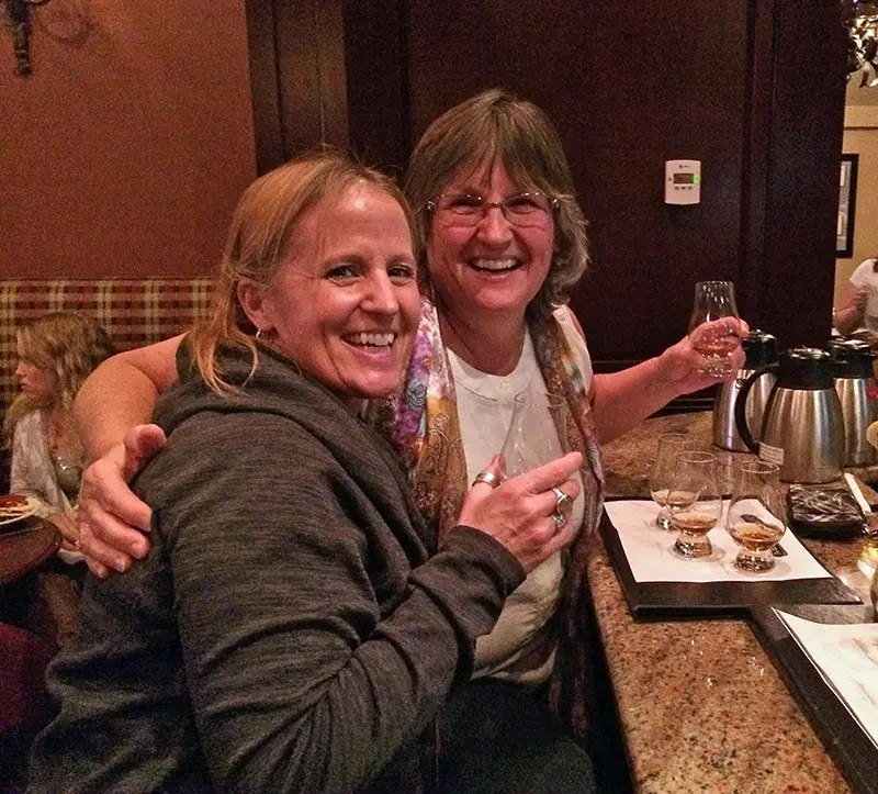 My sister and I at the Owl's Nest Tavern at the Beaumont Inn, indulging in bourbon flights!