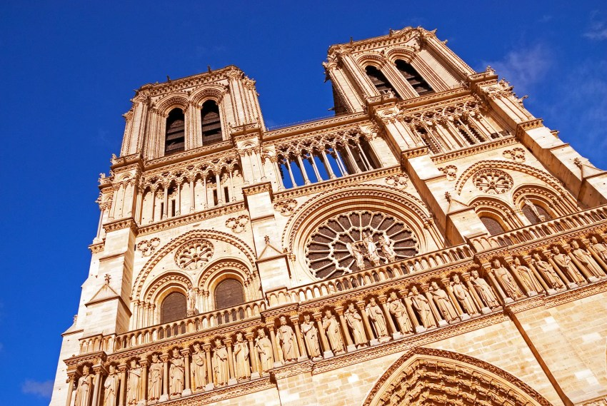 Façade of Notre Dame Cathedral, Paris, France