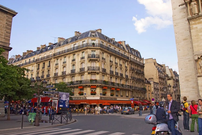 Street scene near Notre Dame Cathedral, Paris, France