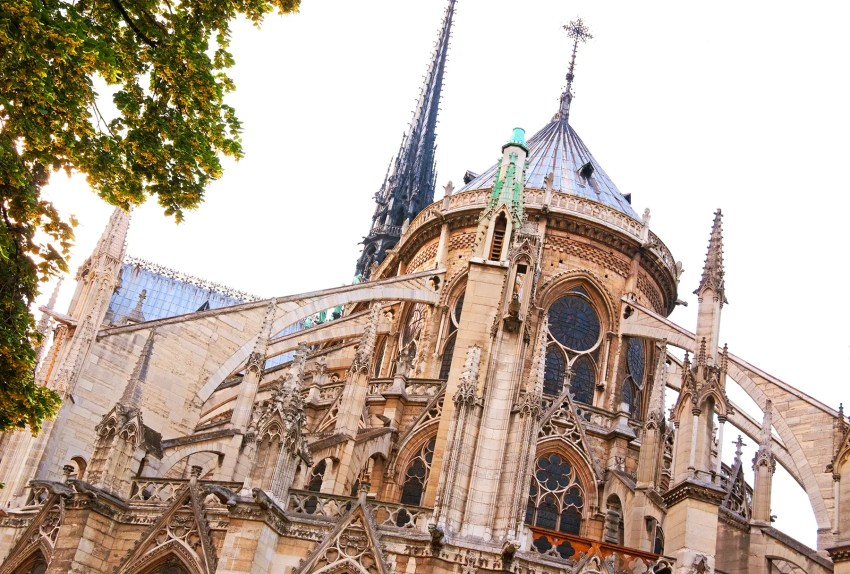 The back of Notre Dame with a view of the flying buttresses, Paris, France