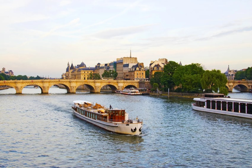View of Paris from the Right Bank across the River Seine, France