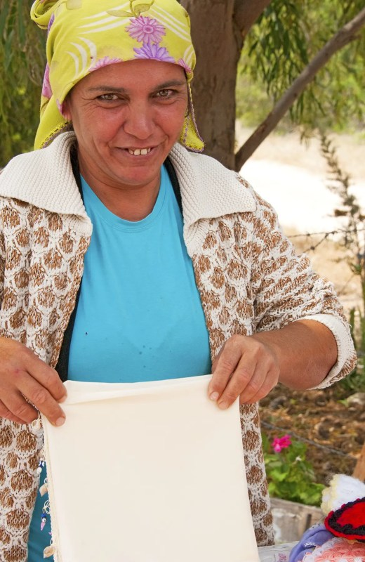 Turkish woman selling handmade goods, Patara, Turkey