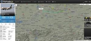 Co nad Andrychowem lata - flightradar24.com