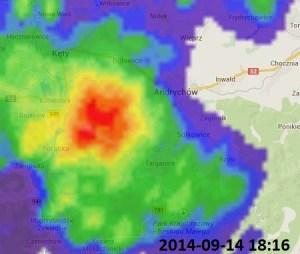 Radarowa mapa opadów - burza nad Czańcem