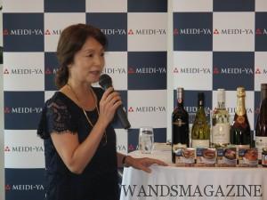 「おいしい缶詰」と明治屋直輸入ワインとのマリアージュ」を解説する白須知子さん