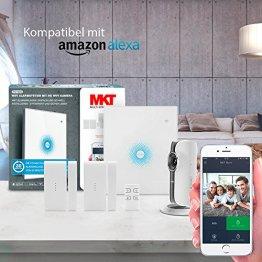 Multi Kon Trade® Funk-Alarmanlage Komplettsystem Einsteiger Set mit HD WiFi Kamera, Funk-Tür-/Fensterkontakt und Fernbedienung I WLAN Alarmanlagen Set mit Kamera, Alexa und App Steuerung - 1