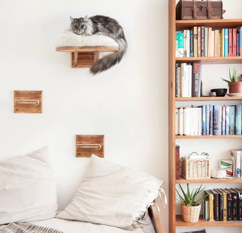 arbre a chat mural design coussin moelleux