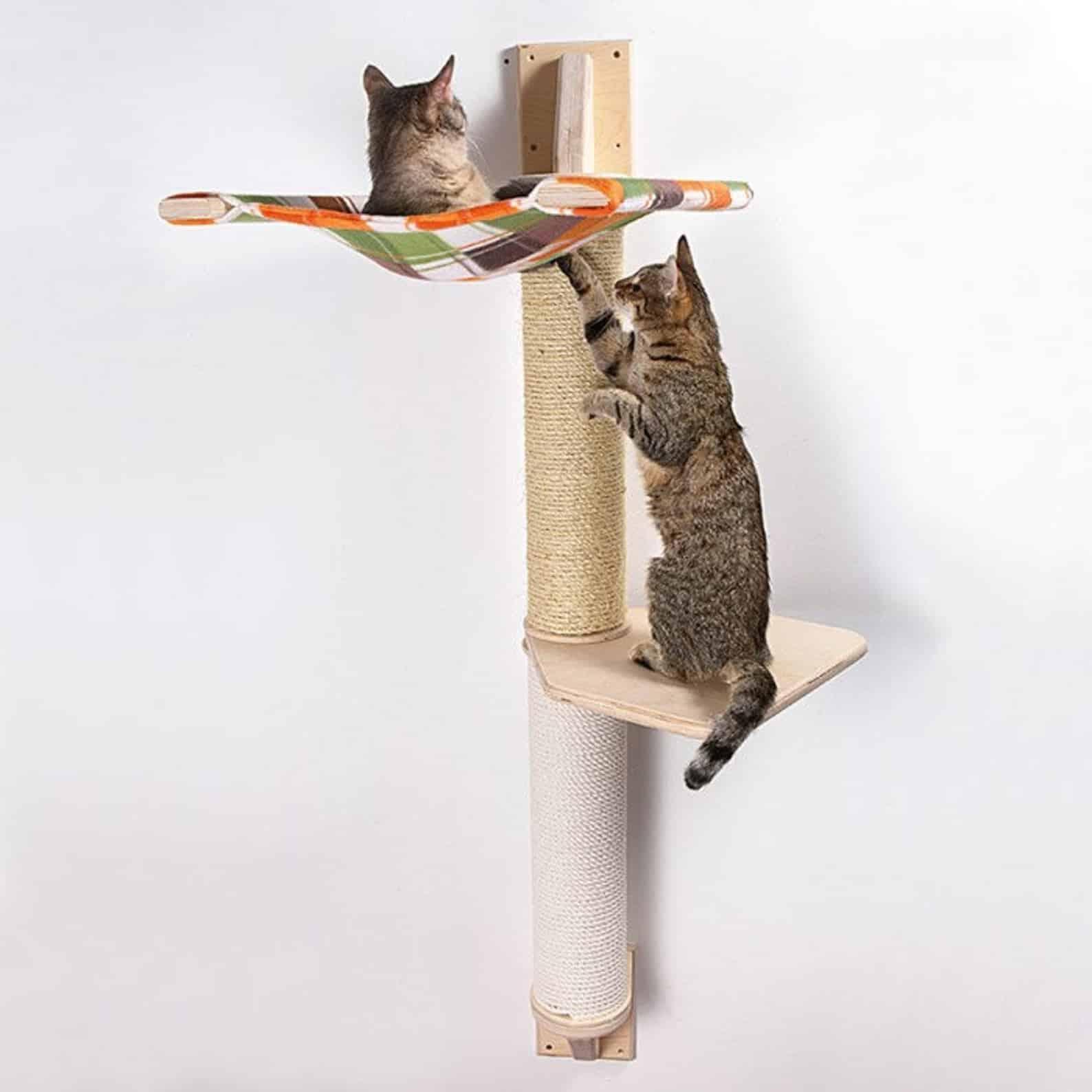arbre a chat mural design droit hamac