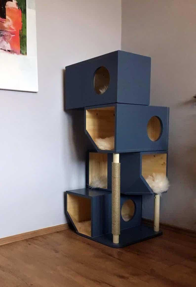 arbre a chat en cube bloc bleu