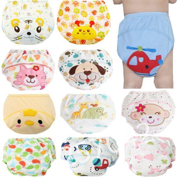 1Pcs Cute Baby Diapers Reusable Nappies Cloth Diaper Washable Infants Children Baby Cotton Training Pants Panties 6