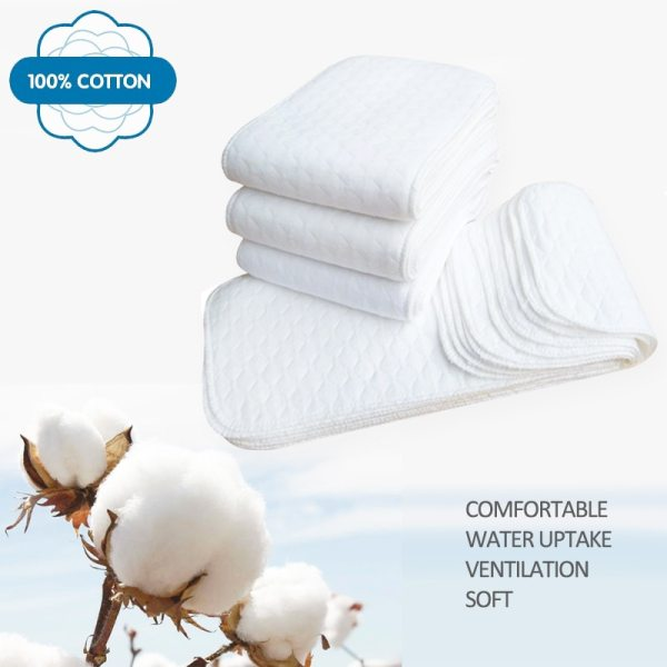 New Reusable baby Diapers Cloth Diaper Inserts 1 piece 3 Layer Insert 100 Cotton Washable babies