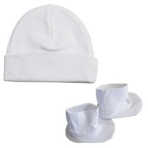 Bambini Cap & Bootie Set - White