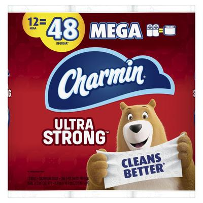Charmin Ultra Strong Toilet Paper 12 Mega Rolls 286ct/roll - 12ct/4pk