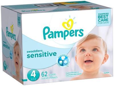 Pampers Super Pack Swaddlers SENSITIVE Size 4 - 62ct/1pk