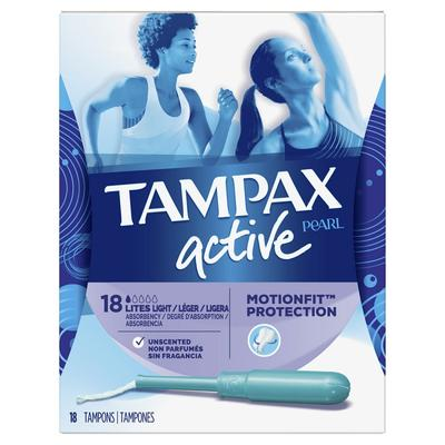 Tampax Pearl Active Tampons Light Absorbency - 18ct/12pk