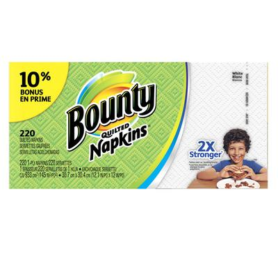 Bounty White Paper Napkins Quilted - 220ct/8pk