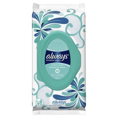 Always Feminine Wipes Fresh & Clean Soft Pack - 32ct/4pk