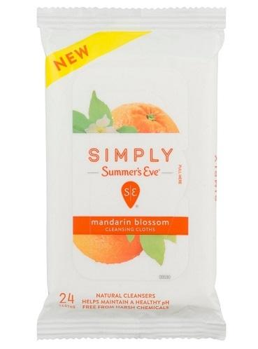 Summers Eve Simply Cleansing Cloths Soft Pack Mandarin Blossom - 24ct/12pk