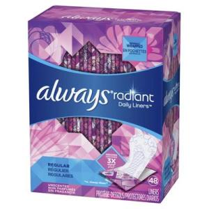 Always Radiant Daily Liners Unscented Regular - 48ct/6pk