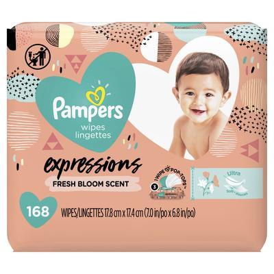 Pampers Baby Wipes Expressions Fresh Bloom Scent 3X Pop-Top Packs - 168ct/4pk